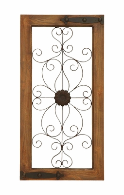 Auburn Tinged Wooden and Metal Wall Panel with Floral Design Brand Woodland