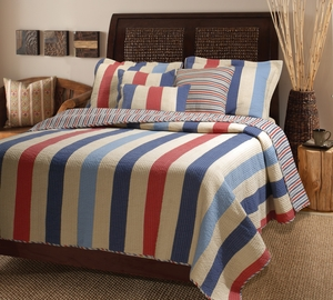 Austin Reversible Quilt Set for King Size Bed in Striped Pattern Brand Green Land