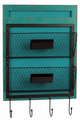 Authentic Blue Colored Wooden Wall Shelf with Trendy Hooks