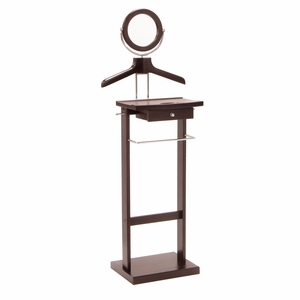 Authentic Valet Stand with a Wooden Base and Round Mirror by Winsome Woods