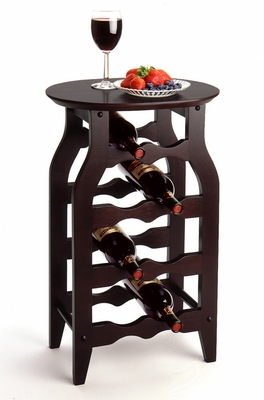 Authentic Wooden 8-Bottle Wine Rack with Oval Shaped Top by Winsome Woods