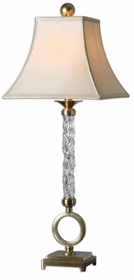 Aversa Wavy Glass Column Table Lamp with Detailing Brand Uttermost