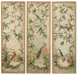 Aviary Vintage Art Panels with Gold Leaf Edges Set of 3 Brand Uttermost