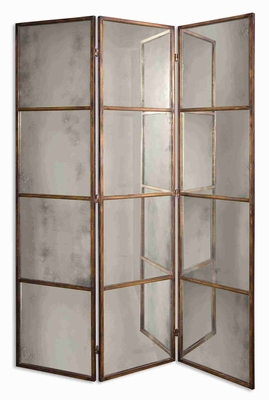 Avidan 3 Panel Mirror Screen with Heavily Antiqued Gold Frame Brand Uttermost
