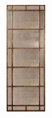 Avidan Antique Mirror with Narrow Gold Leaf Metal Frame Brand Uttermost