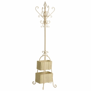 Awesome Ivory Hall Tree with Rattan Storage by Southern Enterprises