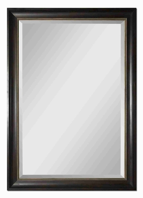 Axton Oversized Wall Mirror with Dark Mahogany Wood Tone Brand Uttermost