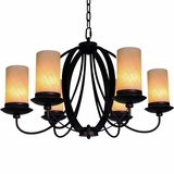 Azalea Collection Attractive 6 Light Chandelier with Dark Burgundy Shade by Yosemite Home Decor