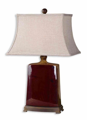 Baalon Burgundy Table Lamp with Bronze Detailing Brand Uttermost