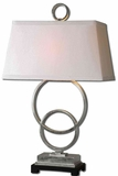 Bacelos Silver Leaf Lamp with Matte Black Foot Brand Uttermost