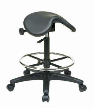 Backless Stool with Saddle Seat, Dual Wheel Carpet Casters by Office Star