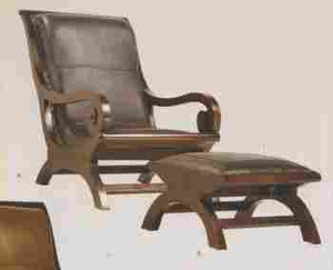 Bahia Lazy Chair in Mahogany Construction with Stool Set of 2 Brand Woodland