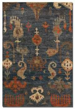 "Bali 16"" Cut Jute Rug in Blue Grey with Aged Burnt Orange & Brown Brand Uttermost"
