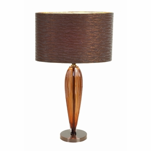 Glass Metal Table Lamp With Round Base With Glass Shade - 40076 By Benzara