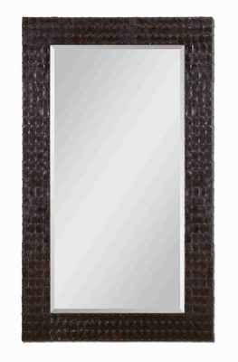 Ballinger Dark Brown Wall Mirror with Mocha Faux Leather Brand Uttermost