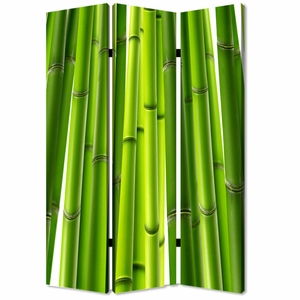 Bamboo 3 Panel Screen Crafted with Artistic Detailing on Canvas Brand Screen Gem