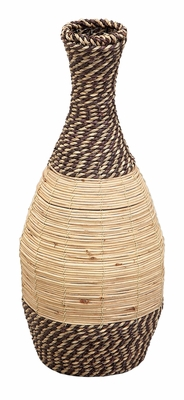 Bamboo Rattan Vase with Tropical Design and Rattan Finish Brand Woodland