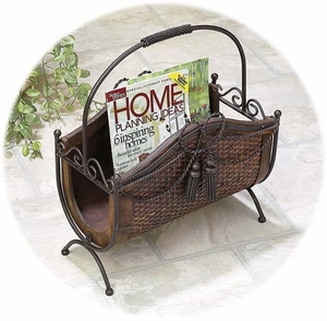 Bamboo Wood Metal Magazines Paper Rack Stand with Handle Brand Woodland