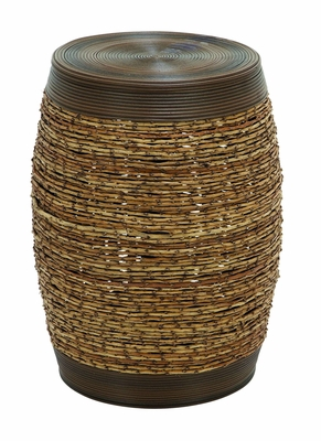 Bamboo Woven Polyethylene Stool In Unique Barrel Shape Brand Woodland