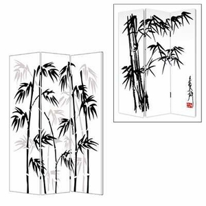 Banaboo Leaf 3 Panel Screen with Artistic Detailing on Canvas Brand Screen Gem