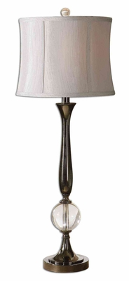 Banida Black Nickel Buffet Lamp with Crystal Sphere Brand Uttermost