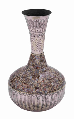 Barcelona Beautifully Carved Mosaic Vase Design Brand Benzara