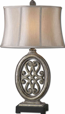 Barela Silver Table Lamp with Matte Black Foot Brand Uttermost