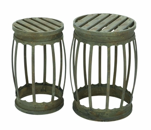 Barrel Shaped Metal Stool With Greenish Finish- Set Of 2 - 52937 by Benzara