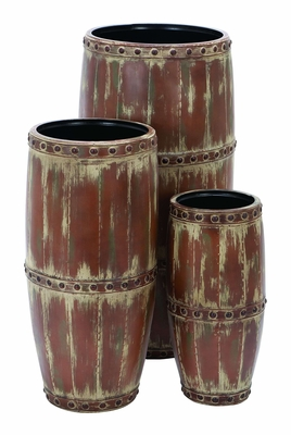 Barrel Shaped Metal Vase with Enchanting Style - Set of 3 Brand Woodland