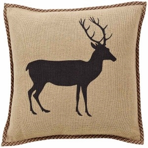 "Barrington Burlap Pillow with Stenciled Buck 16x16"" VHC Brand - 12303 Brand VHC"