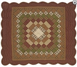 "Barrington Quilted Throw Scalloped 50x60"" VHC Brand - 12337 Brand VHC"