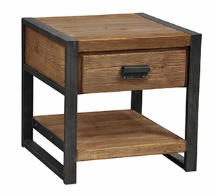 Bartlett End Table with one Drawer and Storage Section