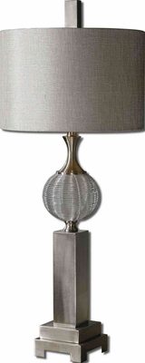Barzillay Metal Lamp with Aluminum Detailing in Silver Brand Uttermost