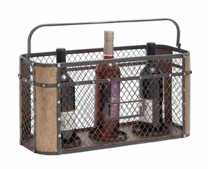 Basket Style Portable Black Metal Wire Wine Holder Brand Benzara