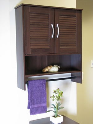 Bathroom Two Louvered Doors Wall Cabinet by 4D Concepts