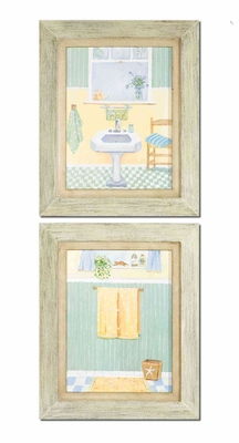 Beach Bath Art with Brown Wash Frames - Set of 2 Brand Uttermost