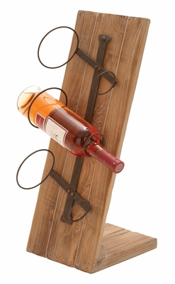 Beach Wood Wine Rack - Table Top Rack With Iron Holders Brand Woodland