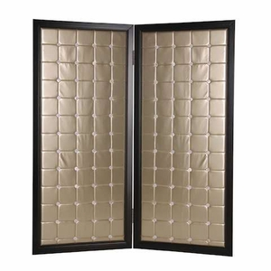 Beau Monde Screen Designed with Modish Square Pattern in Gold Brand Screen Gem