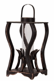 Beautiful & Amazing Curve Design Wooden Lantern w/ Weathered Effect in Black