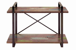 Beautiful and Arty Metal Wooden Console Table Brand Benzara