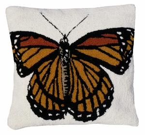 "Beautiful and Colorful Butterfly Hooked Pillow 18x18"" by 123 Creations"