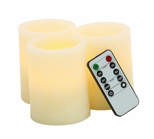 Beautiful and Durable Led Flameless Candle Remote Set/3 by Woodland Import