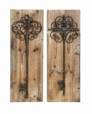 Beautiful And Enchanting Key Door Wall Plaque With Aged Wood Brand Woodland