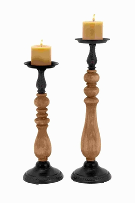 Beautiful and Modern Metal Wood Candle Holder (Set of 2) Brand Woodland
