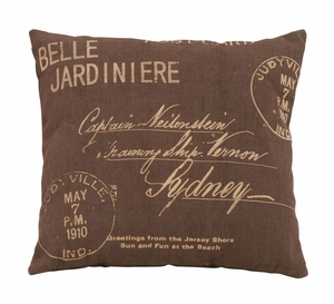Beautiful Brown And Tan Paris Postcard Themed Pillow Brand Woodland