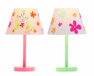 Beautiful Butterfly And Flower Accent Lamps Brand Woodland