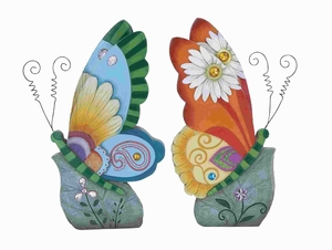 "Beautiful Butterfly Decor 2 Assorted 13""H Attractive & Colorful Brand Woodland"