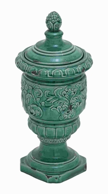 Beautiful Ceramic Jar with Intricate Detailing and Blue Finish Brand Woodland