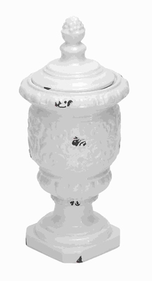 Beautiful Ceramic Jar with Intricate Detailing and White Finish Brand Woodland