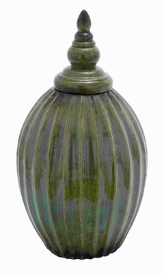 Beautiful Ceramic Jar with Rusted Accents on a Green Background Brand Woodland